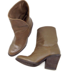 Lucky Brand Cognac Brown Leather Ankle Boots Shoes
